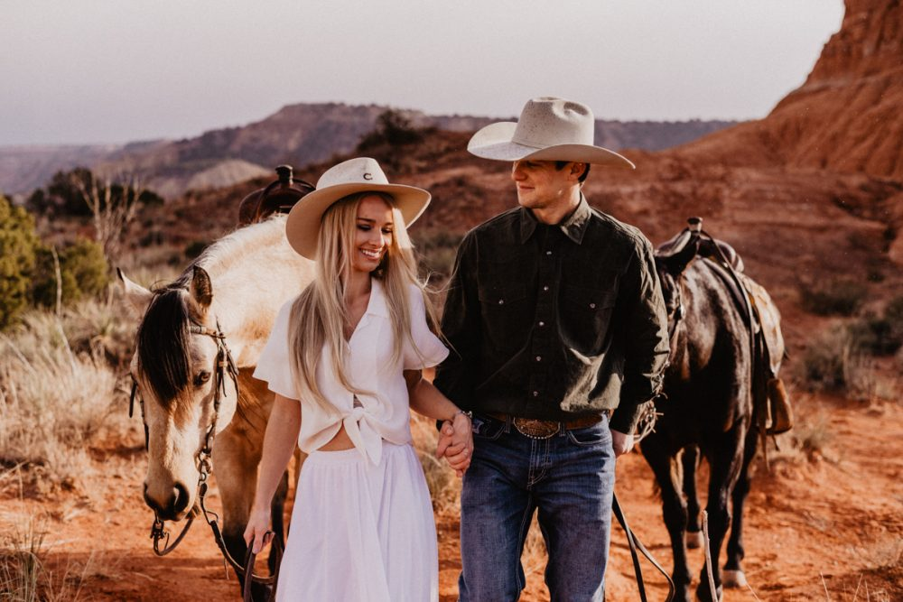 Texas Elopement Couple on horse back eloping in Palo Duro Canyon State Park by Austin Wedding Photographer Fyrelite Photography